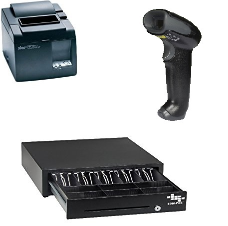 POS Hardware Bundle For Square Stand  Cash Drawer, Thermal Receipt Printer,  Barcode Scanner [Compatible With Square Stand]